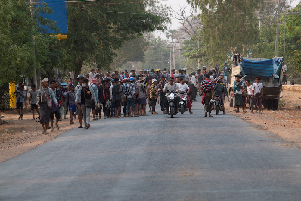Demonstrators are seen before a clash with security forces in Taze, Sagaing Region, Myanmar April 7, 2021. — Reuters pic