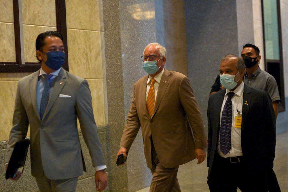 Former Prime Minister Datuk Seri Najib Razak arriving at the Court of Appeal, Putrajaya on April 28, 2021. — Picture by Miera Zulyana