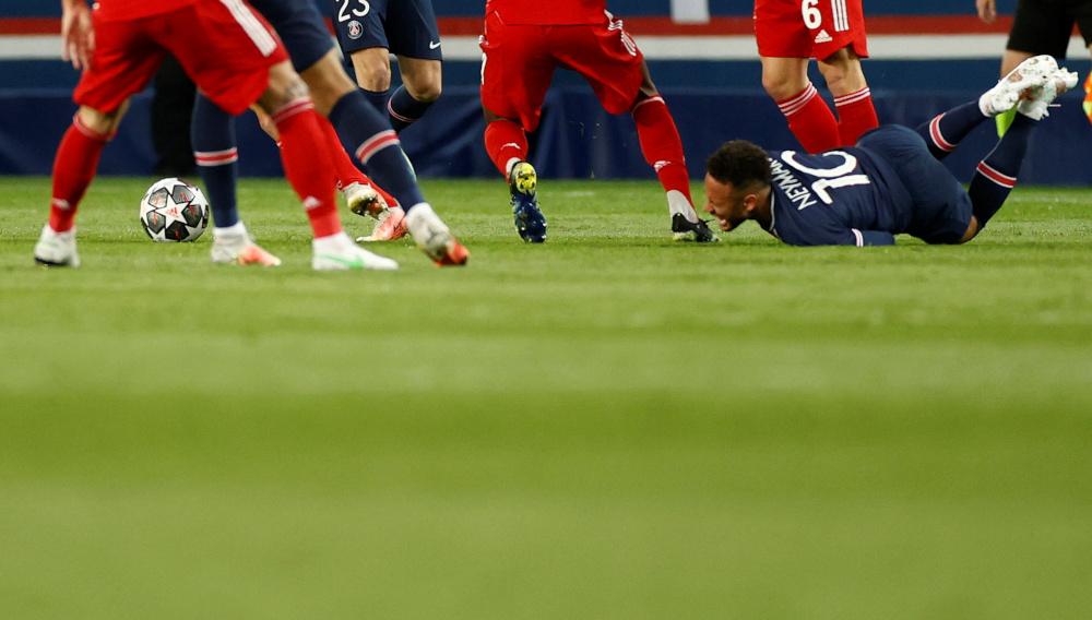Paris St Germain's Neymar in a match against Bayern Munich during the Champions League quarter final second leg at Parc des Princes, Paris, April 13, 2021. — Reuters pic