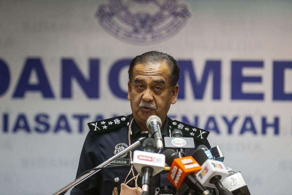 Bukit Aman`s Narcotic Criminal Investigation Department director Datuk Razarudin Husain speaks during a press conference at the Central Seberang Perai district police station April 22, 2021. — Picture by Sayuti Zainudin