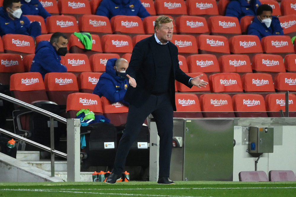 Barcelona's Dutch coach Ronald Koeman reacts during the Spanish League football match between Barcelona and Getafe at the Camp Nou stadium in Barcelona April 22, 2021. — AFP pic