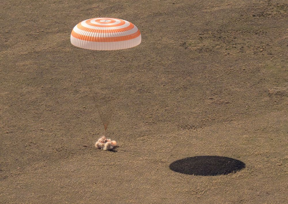The Soyuz MS-17 space capsule, carrying the International Space Station (ISS) crew members Kathleen Rubins of NASA, Sergey Ryzhikov and Sergey Kud-Sverchkov of Roscosmos, lands in a remote area outside Zhezkazgan, Kazakhstan April 17, 2021. — Reuters pi