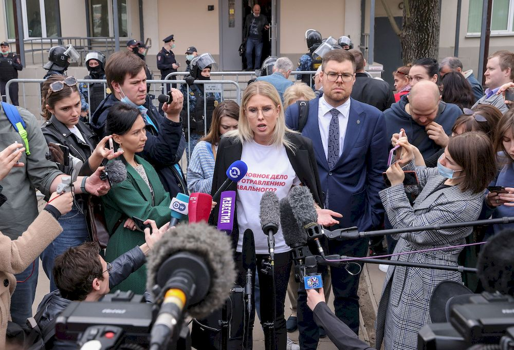 Lyubov Sobol, a Russian opposition figure and a close ally of Kremlin critic Alexei Navalny, speaks with journalists after a court hearing in Moscow, Russia, April 15, 2021. — Reuters pic