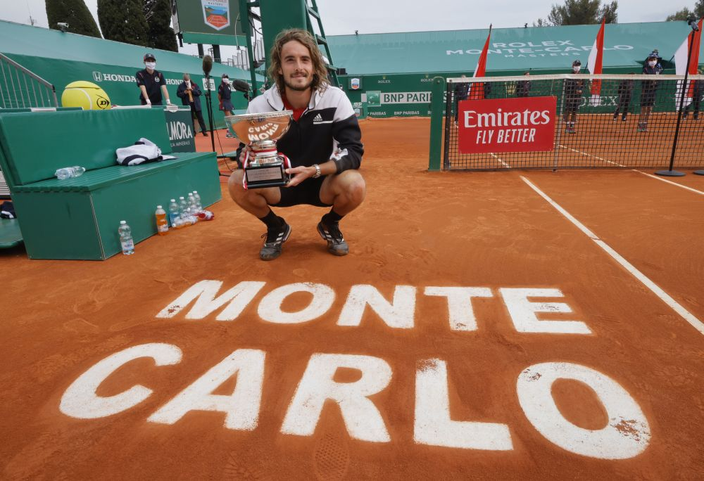 Greece's Stefanos Tsitsipas celebrates after winning the Monte Carlo Masters final match against Russia's Andrey Rublev April 18, 2021. — Reuters pic