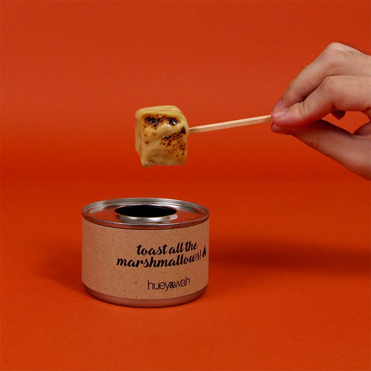 Spark some fun at home by toasting these Huey & Wah pandan 'gula Melaka' marshmallows.