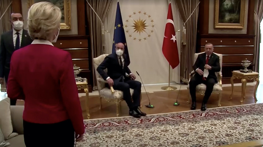 European Commission President Ursula von der Leyen stands as European Council President Charles Michel and Turkish President Tayyip Erdogan take seats in Ankara, Turkey April 6, 2021, in this screengrab obtained by Reuters. — Reuters pic