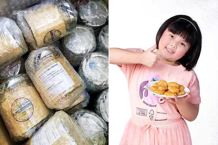 Zoey's Homemade signature products include natural chicken powder (left) and nuggets (right).