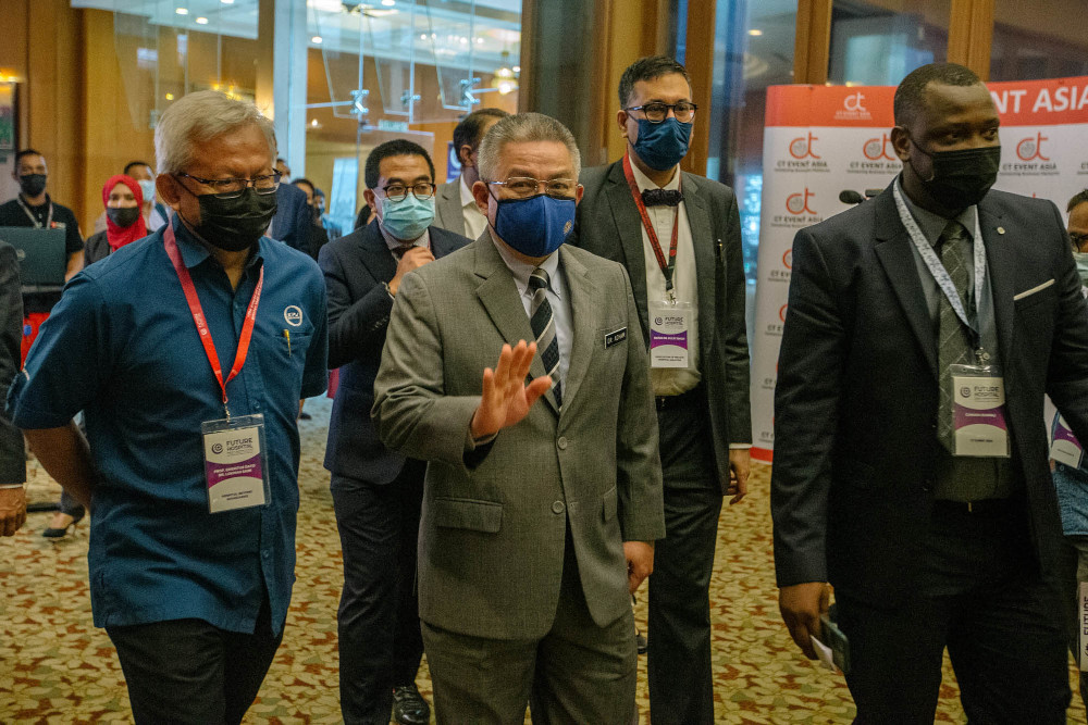 Health Minister Datuk Seri Dr Adham Baba arrives at The Future Hospital Strategy and Development Forum 2021 in Kuala Lumpur April 6, 2021. — Picture by Firdaus Latif