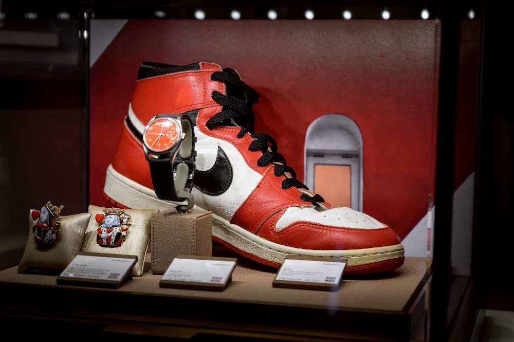 A sneaker part of a pair of basketball legend Michael Jordan's famous Air Jordans from his rookie season is seen on April 28, 2021 in Geneva during a preview of sale by auction house Sotheby's entitled 'Gamers Only'. — AFP pic