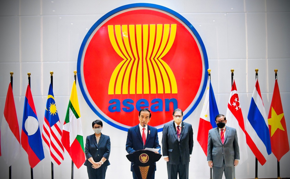 Indonesian President Joko Widodo speaks during a news conference after attending the Asean leaders' summit at the Association of South-east Asian Nations (Asean) secretariat building in Jakarta, Indonesia, April 24, 2021. — Laily Rachev/Indonesian Presidential Palace handout pic via Reuters