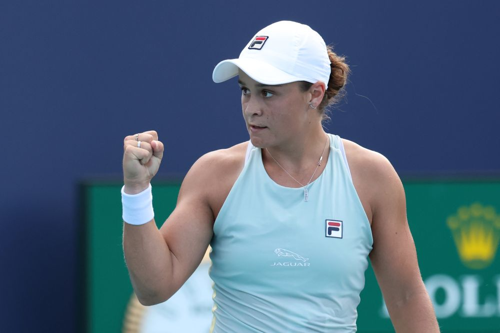 Ashleigh Barty of Australia celebrates after match point against Elina Svitolina of Ukraine in a women's singles semifinal in the Miami Open at the Hard Rock Stadium April 1, 2021.— Reuters pic