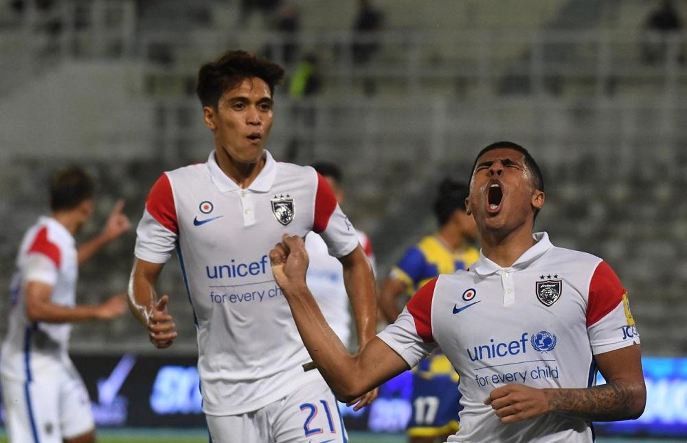 JDT's Bergson Da Silva (right) celebrates after scoring a goal against Sri Pahang FC in Kuantan April 16, 2021. ― Bernama pic