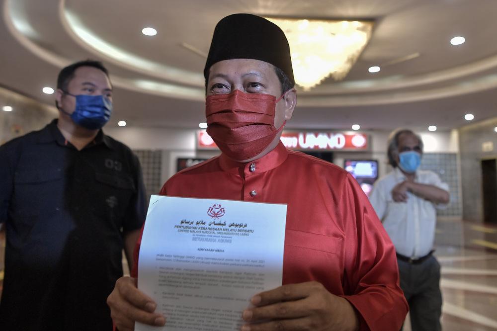 Umno secretary-general Datuk Seri Ahmad Maslan is seen after the party's Umno Supreme Council meeting at PWTC in Kuala Lumpur April 25, 2021. — Bernama pic