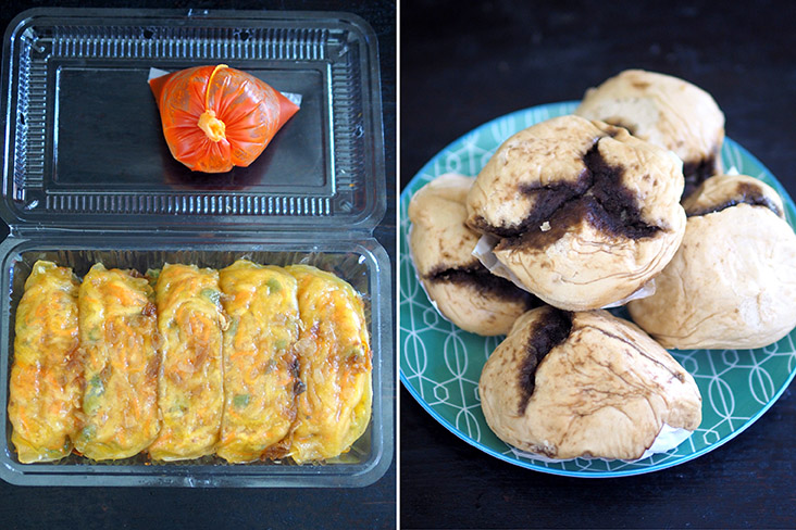 The 'chai kuih' is neatly packed in a box (left). The 'pao' is packed in a plastic bag so separate them to steam (right)