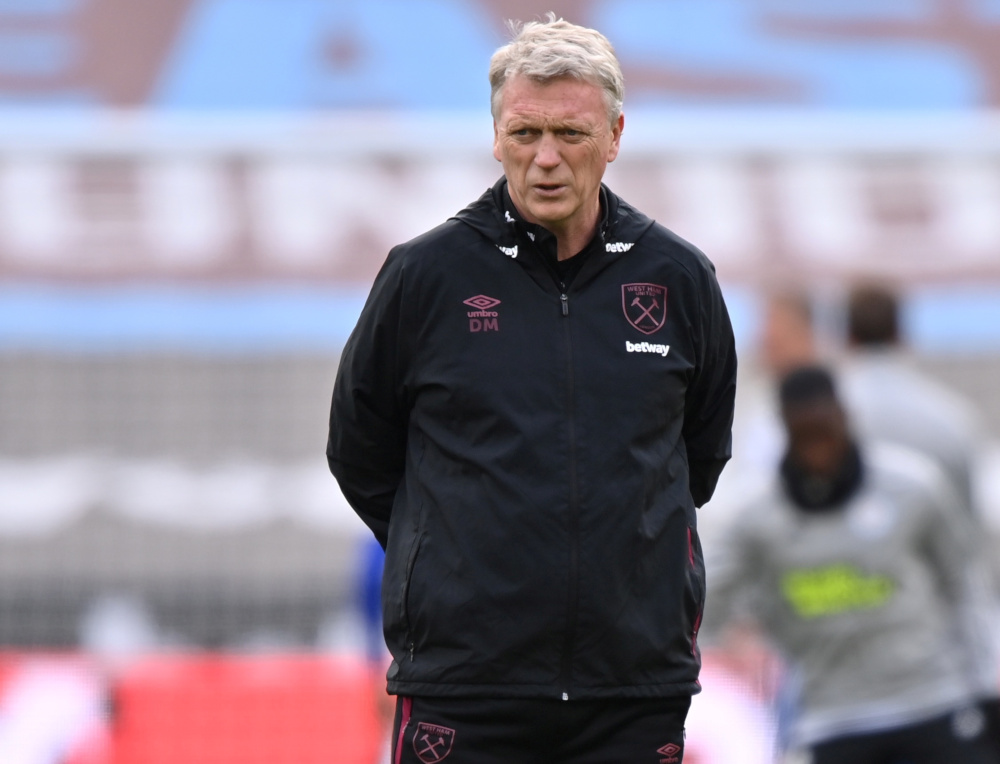 West Ham United manager David Moyes during the warm up before the match against Leicester City at the London Stadium, London, April 11, 2021. — AFP pic