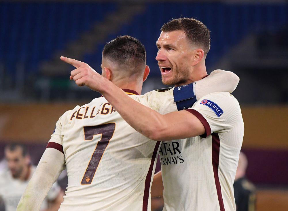 AS Roma's Edin Dzeko celebrates scoring their first goal against Ajax with Lorenzo Pellegrini at the Stadio Olimpico, Rome April 15, 2021. — Reuters pic