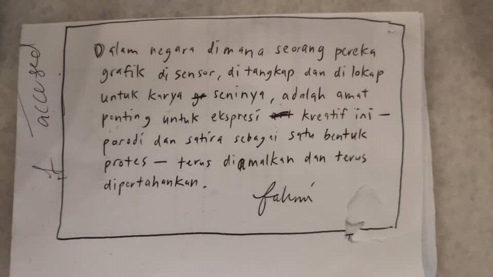 A screenshot of Fahmi Reza's handwritten note. ― Picture courtesy of Rajsurian Pillai