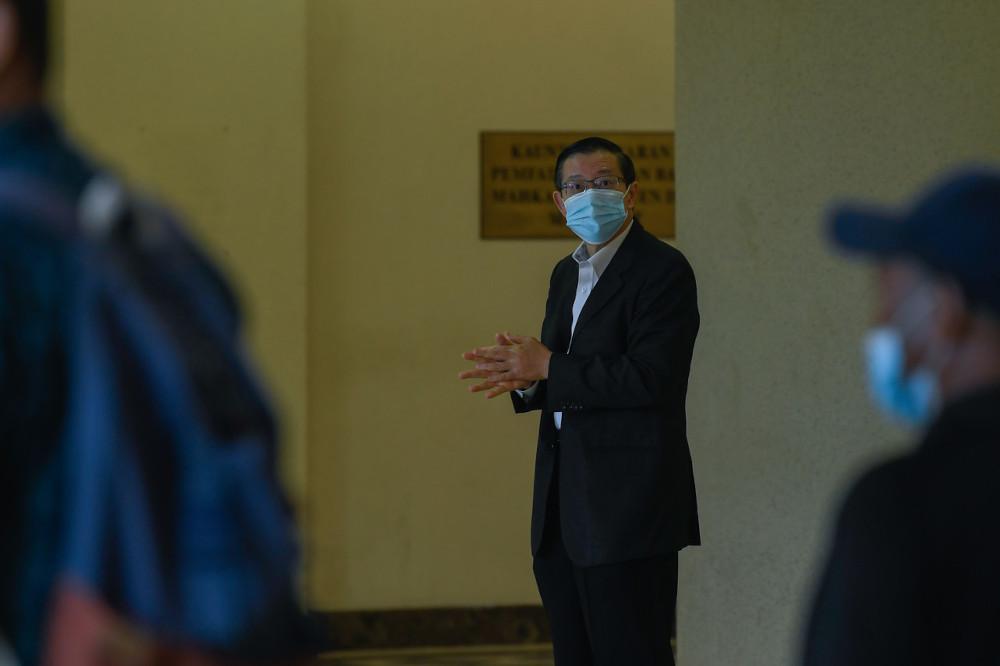 Lim Guan Eng at the Kuala Lumpur Court Complex, April 14, 2021. — Bernama pic