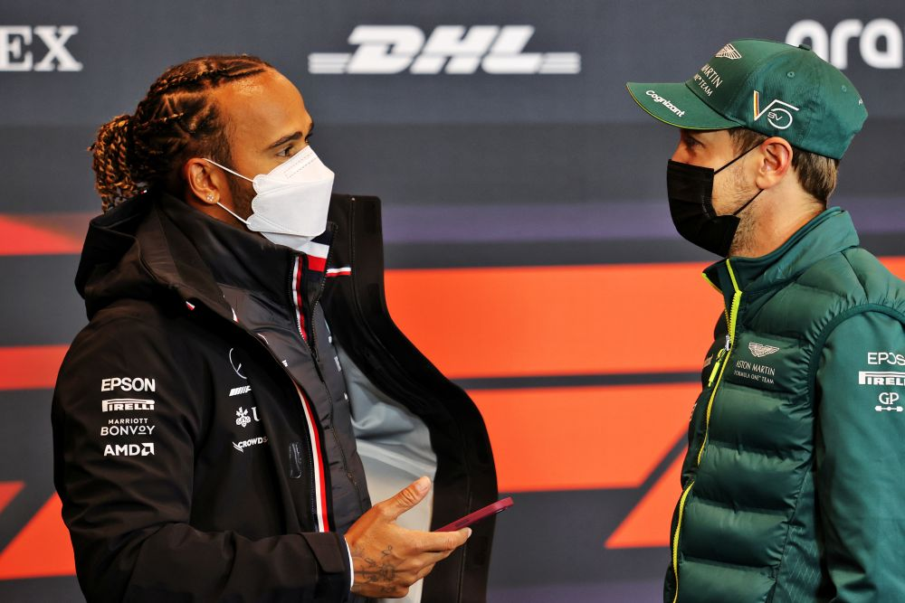 Mercedes' Lewis Hamilton and Aston Martin's Sebastian Vettel are seen at a news conference ahead of the Emilia Romagna Grand Prix at Imola April 15, 2021. — Reuters pic