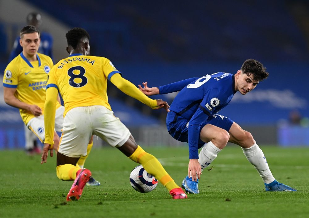 Chelsea's Kai Havertz in action with Brighton & Hove Albion's Yves Bissouma at Stamford Bridge, London April 20, 2021. — Reuters pic