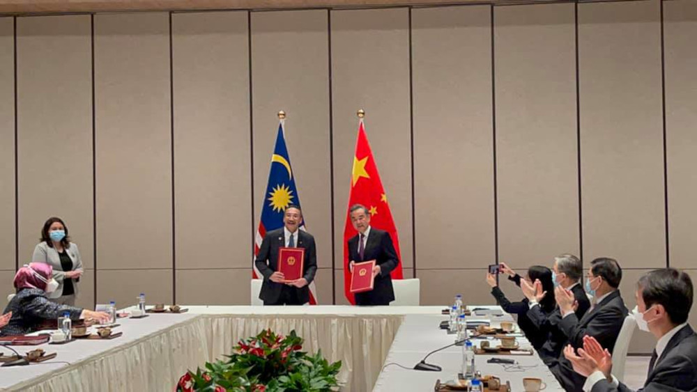 Hishammuddin visited China as part of the republic's efforts to reach out to the Association of Southeast Asian Nations (Asean) in resolving the ongoing political crisis in Myanmar. — Picture from Facebook/Hishammuddin Hussein