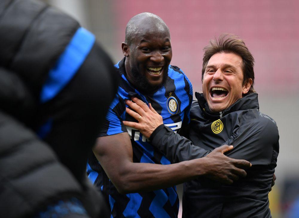 Inter Milan coach Antonio Conte and striker Romelu Lukaku celebrate a goal against Cagliari at the San Siro, Milan April 11, 2021.— Reuters pic
