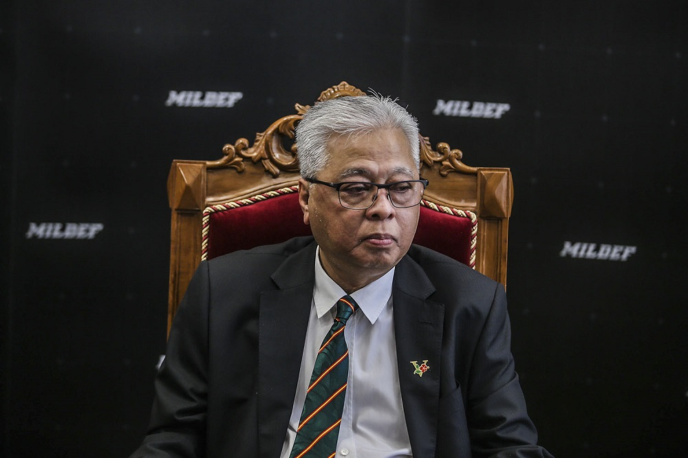 Senior Minister Datuk Seri Ismail Sabri Yaakob speaks to reporters after the naming ceremony of the Malaysian made High Mobility Armoured Vehicle in Kuala Lumpur April 2, 2021. ― Picture by Hari Anggara
