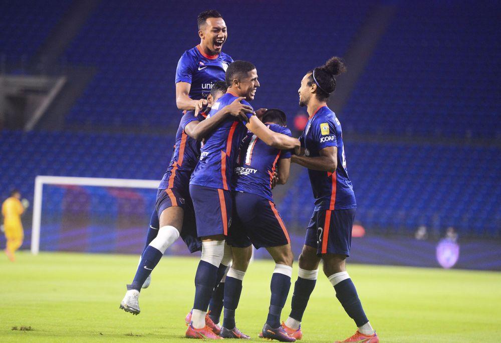 JDT players celebrate a goal against PJ City at the Sultan Ibrahim Stadium in Johor April 10, 2021. — Bernama pic