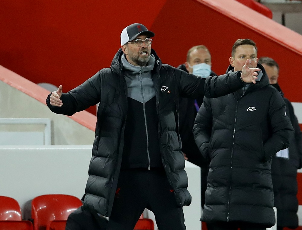 Liverpool manager Juergen Klopp reacts during the match against Real Madrid April 15, 2021. ― Reuters pic