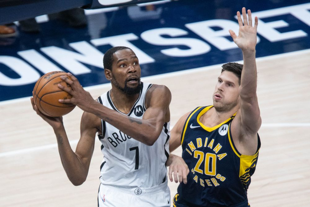 Brooklyn Nets forward Kevin Durant (7) shoots the ball while Indiana Pacers forward Doug McDermott (20) defends in the third quarter at Bankers Life Fieldhouse April 29, 2021. — Reuters pic