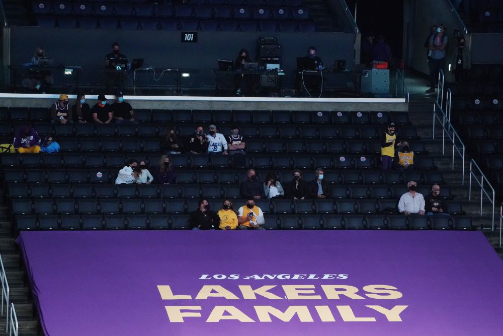 Spectators watch game action between the Los Angeles Lakers and Boston Celtics during the first half at Staples Centre, Los Angeles April 15, 2021. — Reuters pic