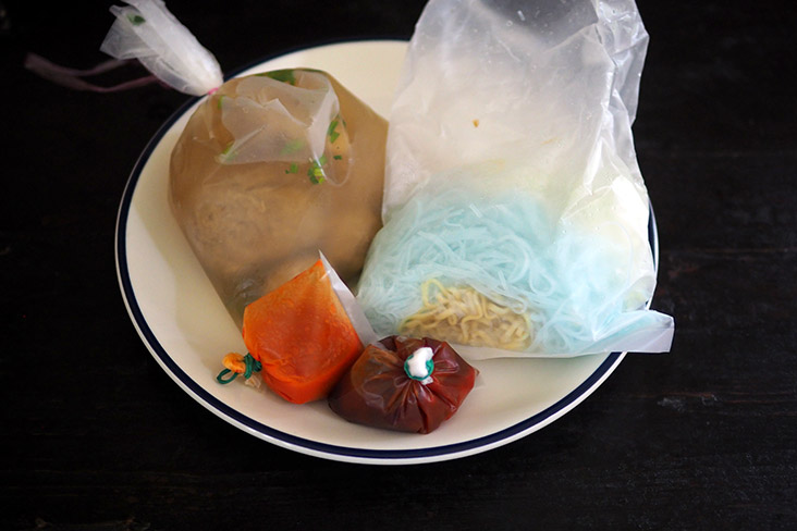Just pour out your 'bakso' and serve with their sauces including a super spicy chilli sauce