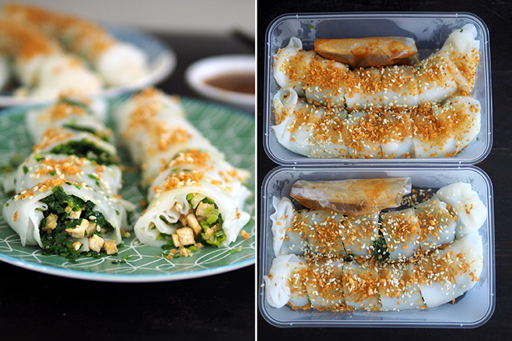 For the 'choy ban cheong fun', you can get one roll filled with chopped chives and another with chopped leeks (left). The 'choy ban cheong fun' is sprinkled with crunchy bits and toasted sesame seeds for extra flavour (right)