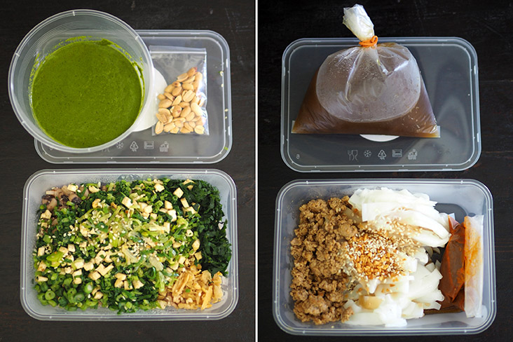 You can save 50 sen if you use your own takeaway container for 'lei cha' that is served with the green tea paste on the side (left). Try their Ipoh-style 'chee cheong fun' with minced pork, mushrooms and a light tasting sauce (right)