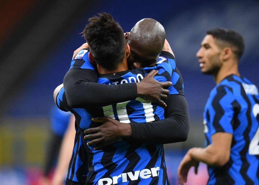 Inter Milan's Lautaro Martinez celebrates scoring their second goal against Sassuolo with Romelu Lukaku at the San Siro April 7, 2021. — Reuters pic