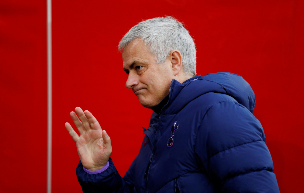 Jose Mourinho took charge in November 2019, replacing Mauricio Pochettino. Tottenham face a League Cup final against Manchester City at Wembley on Sunday. — Action Images via Reuters