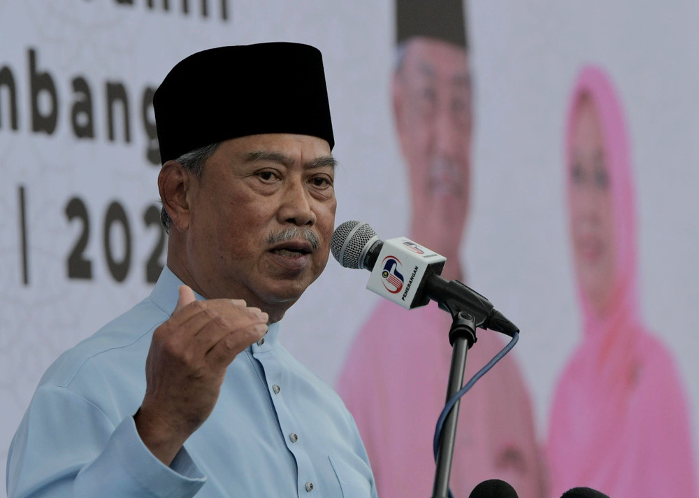 Prime Minister Tan Sri Muhyiddin Yassin speaks after the Yasin and Tahlil Recital and Pagoh Parliament Ramadan 1442H/ 2021M Donation at the Haji Muhammad Yassin Mosque in Pagoh, April 23, 2021. — Bernama pic