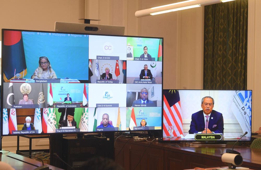 Prime Minister Tan Sri Muhyiddin Yassin delivers his keynote speech during virtual session of the 10th D-8 Summit in Putrajaya, April 8, 2021. — Bernama pic