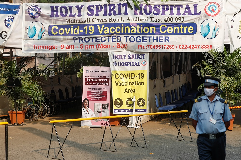 A security guard stands outside an empty Covid-19 vaccination centre in Mumbai, India April 30, 2021. ― Reuters pic