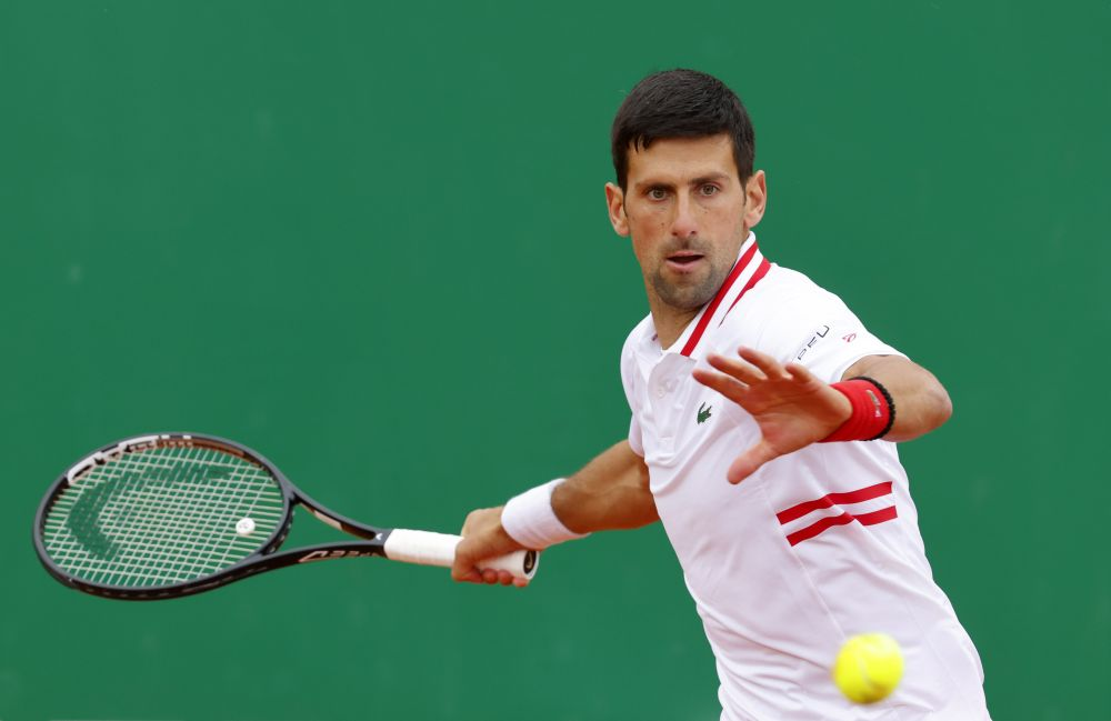 Serbia's Novak Djokovic in action during his third round match against Britain's Dan Evans at the Monte-Carlo Country Club April 15, 2021. — Reuters pic