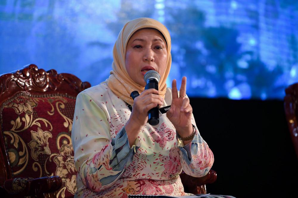 Tourism, Arts and Culture Minister Datuk Seri Nancy Shukri speaks at the National Tourism Policy (DPN) 2020-2030 Roadshow in Kuala Nerus, Terengganu, April 8, 2021. — Bernama pic