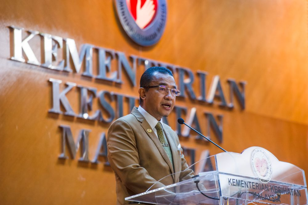 Datuk Dr Noor Azmi Ghazali delivers his speech during launch of phase three of the Health Ministry's smoking cessation programme, mQuit  in Putrajaya April 28, 2021. — Picture by Shafwan Zaidon
