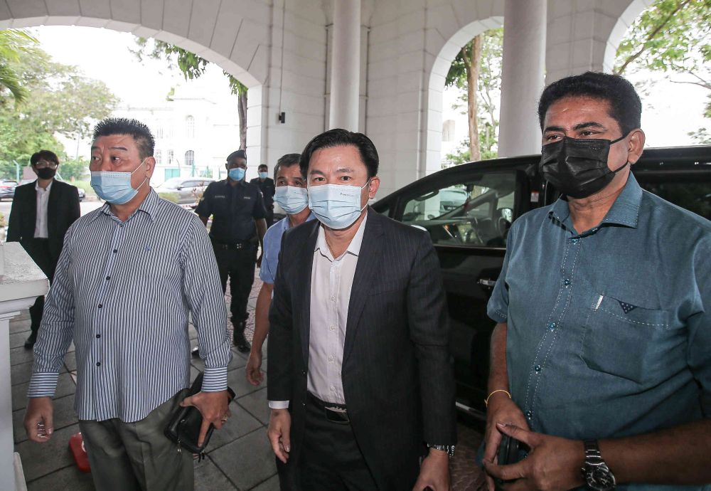 Tronoh assemblyman Paul Yong arrives at the Ipoh High Court April 8, 2021. — Picture by Farhan Najib