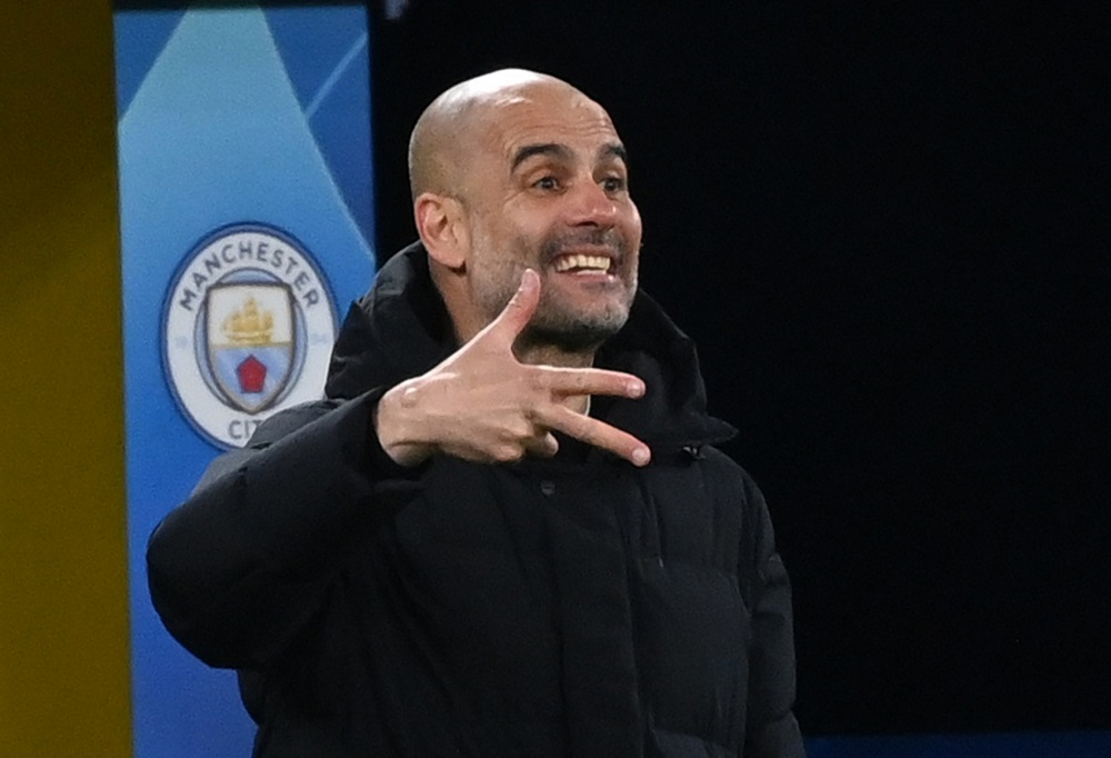 Manchester City manager Pep Guardiola reacts during the match against Borussia Dortmund April 15, 2021. ― Pool via Reuters