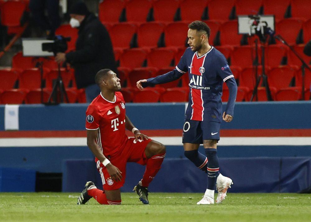 Paris St Germain's Neymar with Bayern Munich's David Alaba after their Champions League quarter final clash at the Parc des Princes, Paris April 13, 2021. — Reuters pic