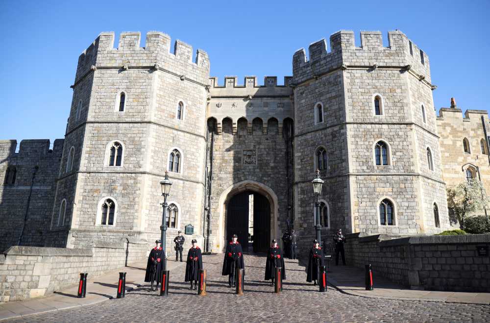 Wardens stand outside Windsor castle, after Britain's Prince Philip, husband of Queen Elizabeth, died at the age of 99, in Windsor April 15, 2021. — Reuters pic