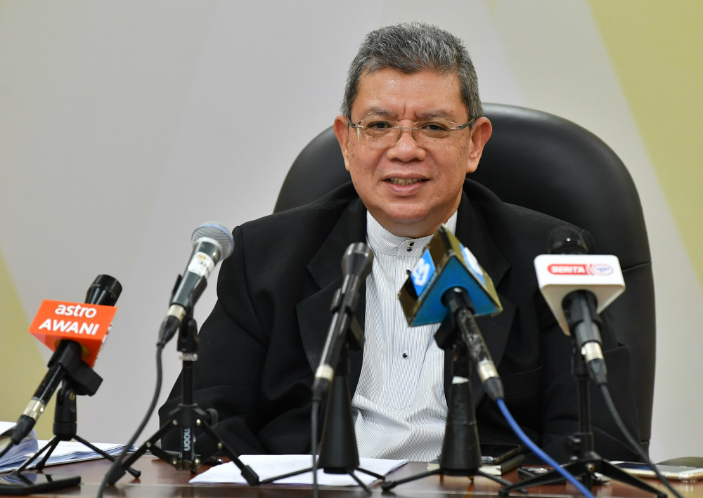 Datuk Saifuddin Abdullah speaks to the media after a virtual engagement session with leading technology companies in Putrajaya, April 23, 2021. — Bernama pic