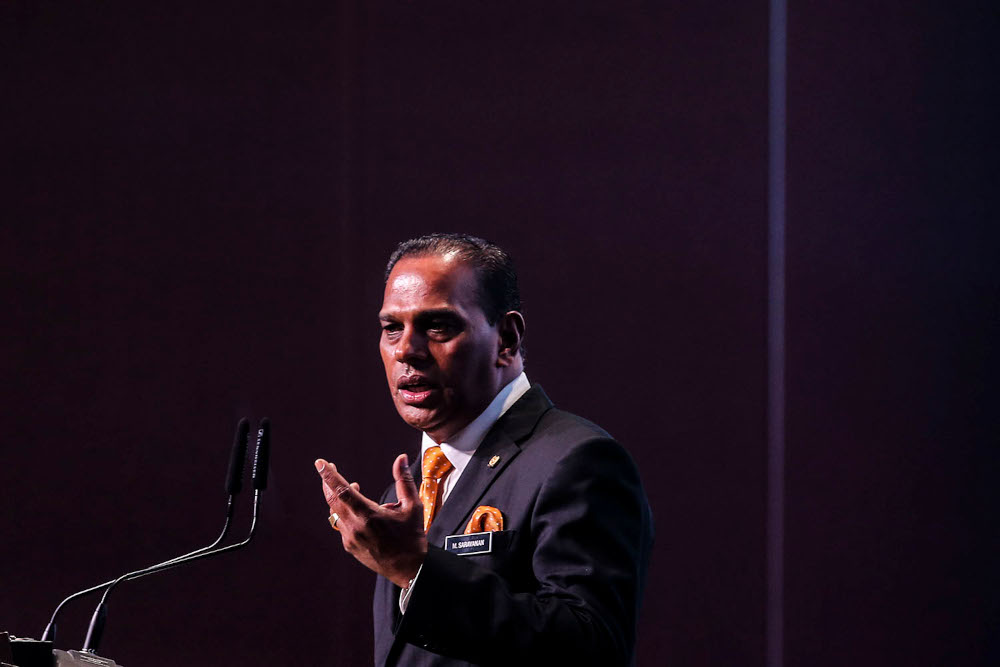 Human Resources Minister Datuk Seri M. Saravanan giving his opening speech during the launch of HRDF Placement Centre in Kuala Lumpur Covention Centre April 6, 2021. ― Picture by Hari Anggara