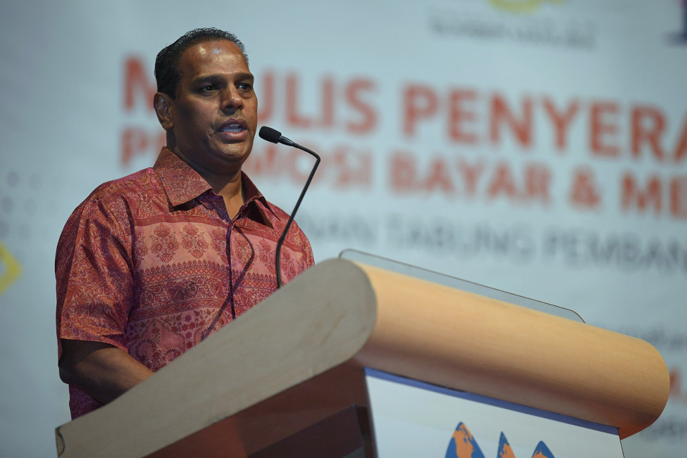HR Minister Datuk Seri M Saravanan speaks at the HRDF prize presentation ceremony for its Pay and Win Promotion at the World Trade Centre Kuala Lumpur, April 26, 2021. — Bernama pic