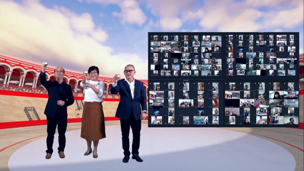 (From left) Sharp assistant general manager Heng Tek Hock, finance director Irene Tiew, and deputy managing director Tok Sang Man toasting with Sharp dealers in a virtual 'yam seng' session. — Picture courtesy of Sharp
